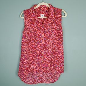 Cabi Heartbreak Sleeveless Pink Red Blouse Small